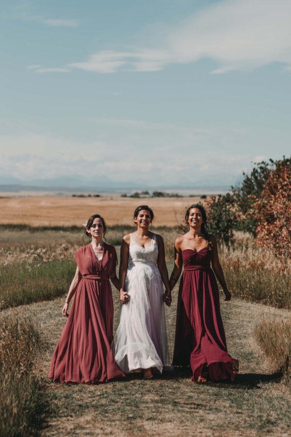 Burgundy Bridesmaids Dresses | Coutts Centre Wedding Photographer | Alberta Wedding Photography
