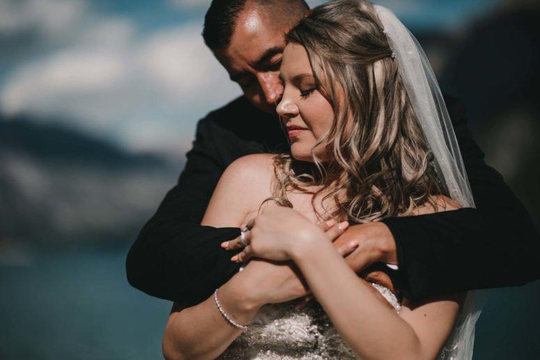 Bride Groom | Banff Adventure Elopement | Lake Minnewanka Wedding Photography