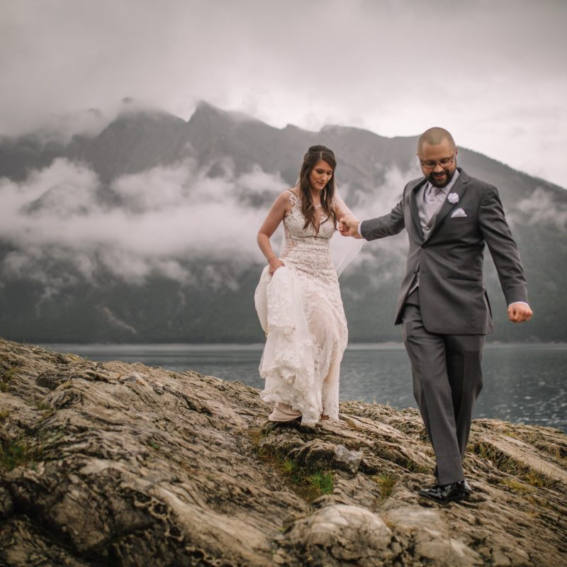 Banff Elopement Photographers | Canmore Wedding Photography | Lake Minnewanka Adventure Session | Wedding Photography Inspiration | Best Calgary Wedding Photographers | Destination Weddings | Couples Love Story