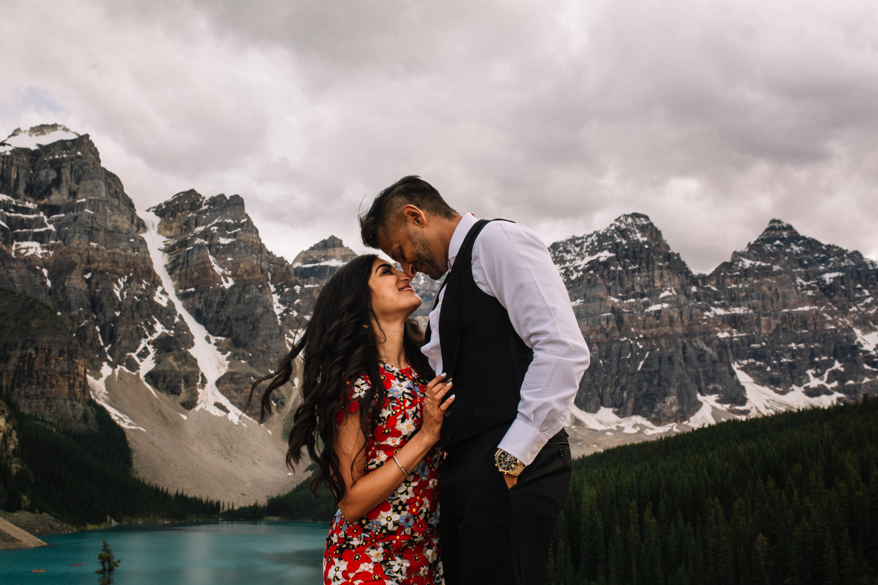 Moraine Lake Engagement Photos | Banff Destination Photographer | Lake Louise Couples Photography | Love